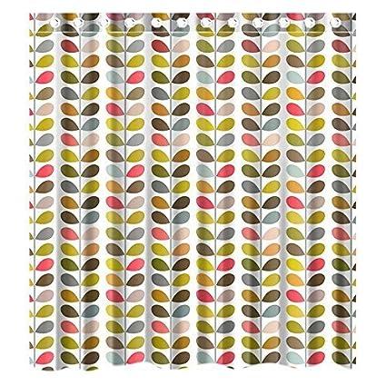 Custom Orla Kiely Colorful Leaf Waterproof Bathroom Shower Curtain Polyester Fabric Size 72 X 180x180cm Amazoncouk Kitchen Home