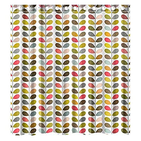 Custom Orla Kiely Colorful Leaf Waterproof Bathroom Shower Curtain Polyester Fabric Size 72quot