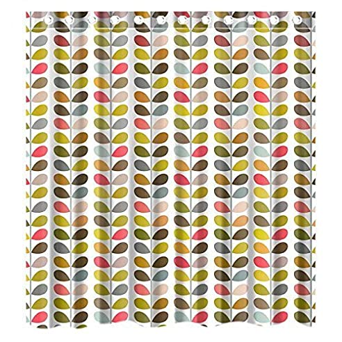 custom orla kiely colorful leaf wasserdicht badezimmer duschvorhang polyester stoff vorhang fr die dusche - Stoff Vorhang Dusche