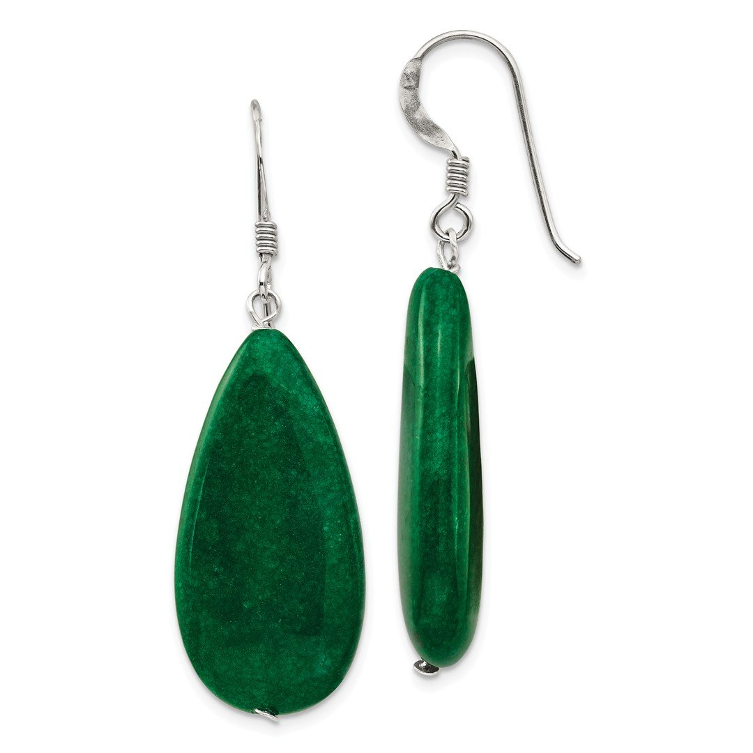 ICE CARATS 925 Sterling Silver Dark Green Jade Drop Dangle Chandelier Earrings Fine Jewelry Ideal Gifts For Women Gift Set From Heart by ICE CARATS (Image #1)