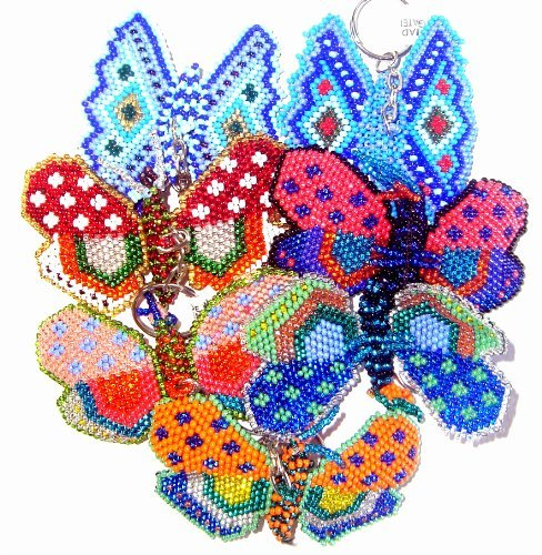 Beaded Animal Keyring ~ High Quality ~ Assorted Colors ~ Hand Made In Guatemala (Butterfly) ()