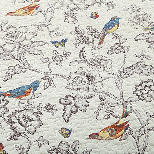 Vintage Floral Quilt Set King Cotton Bedspread Set Beige Brown Reversible Quilt Coverlet Set Luxury Birds Flower Butterfly Printed Quilt Set, Soft and Warm Autumn Winter Quilt Comforter Set by AMWAN (Image #4)
