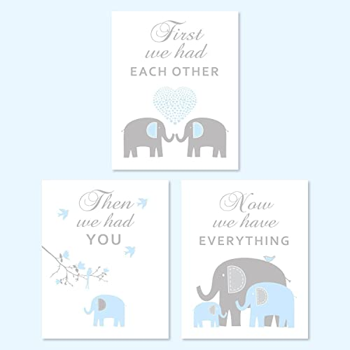 Amazoncom Blue And Gray Elephants Nursery Canvas Wall Art For Boy