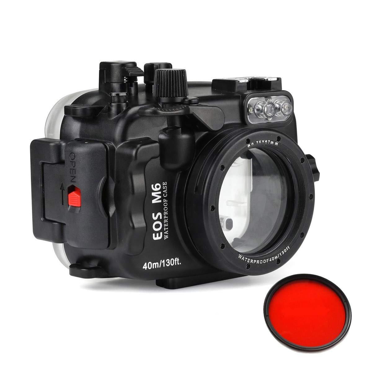Sea Frogs 40m/ 130ft 防水カメラバッグケース/水中カメラハウジング Canon EOS M6(22mm)の用   B07QK3GCPG