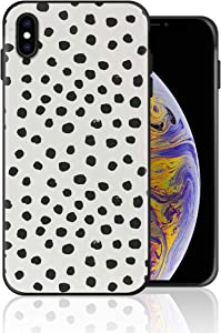 Silicone Case for iPhone 8 Plus and iPhone 7 Plus, Preppy Brushstroke Polka Dots Black and White Spots Dots Animal Spots Phone Case Full Body Protection Shockproof Anti-Scratch Drop Protection Cover