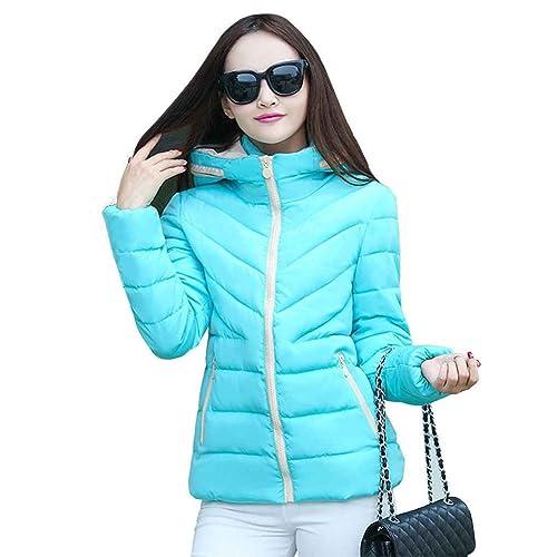 Masterein Mujeres de algodón acolchado chaqueta corta y delgada de gran tamaño Wadded chaqueta básic...