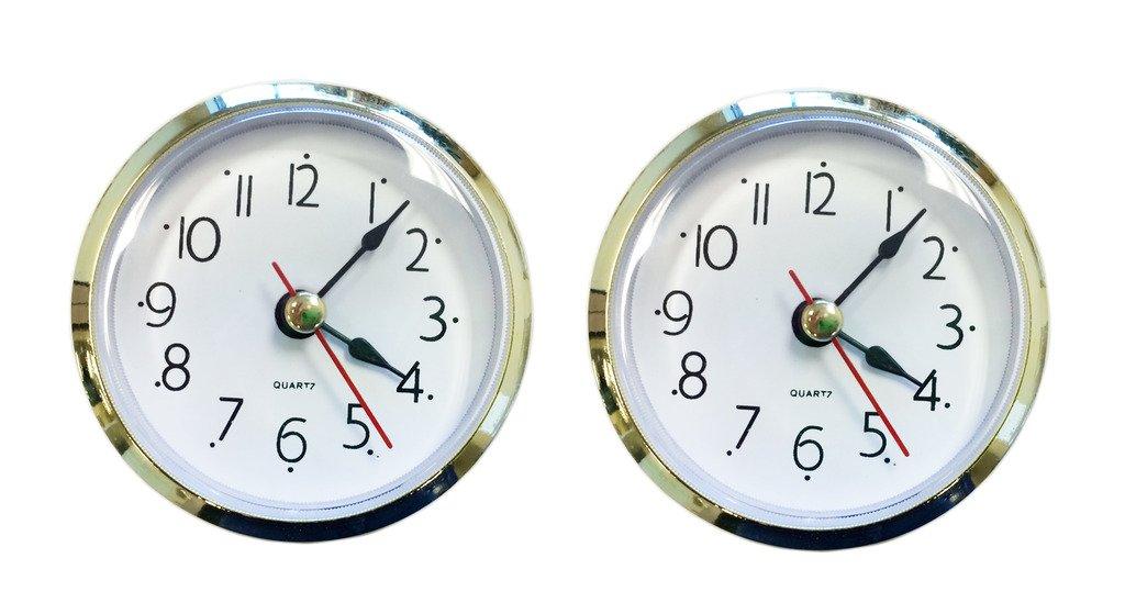 2-pack 2.5'' Craft White Clock Insert with Gold Plastic Rim, Quartz Movement (SJT00015)