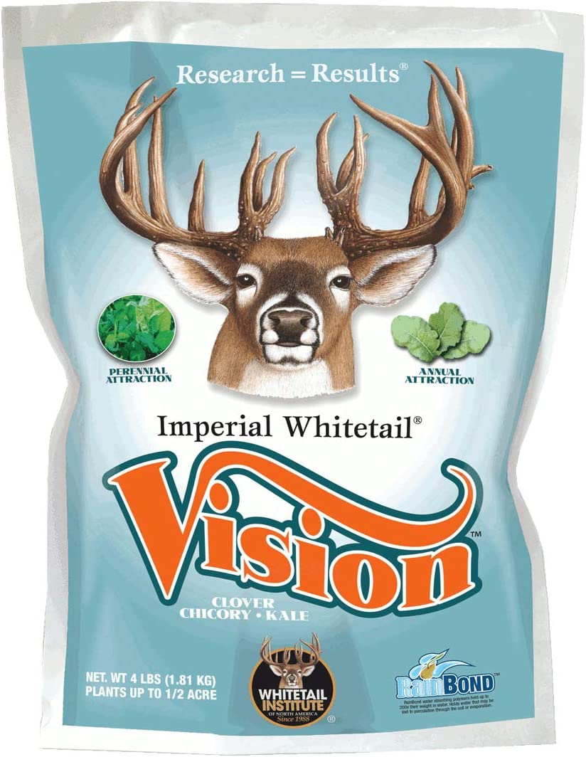 Whitetail Institute Vision Deer Food Plot Seed for Fall Planting - Perennial Blend of Clover, Chicory and Kale to Attract and Hold Deer - Heat, Cold, Drought and Disease Tolerant