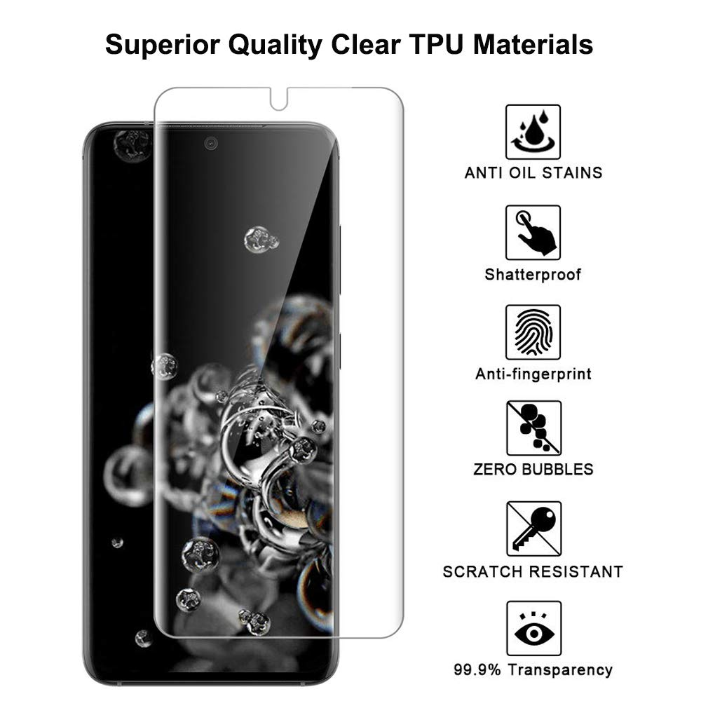 Tamoria Galaxy S20 Ultra Screen Protector TPU Film 4th Generation with Installation Kit Ultrasonic Fingerprint Compatible Screen Cover for Samsung Galaxy S20 Ultra 5G 6.9 HD Clear 3 Pack