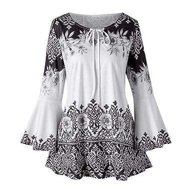 e1f0ea4eee3 Trendinao Fashion Womens Plus Size Printed Flare Sleeve Tops Blouses  Keyhole T-Shirts (Black