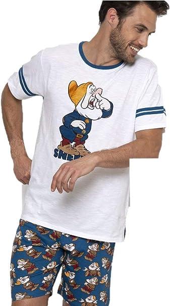 Disney Pijama Hombre Enanito Sneezy Manga Corta (XL): Amazon.es: Ropa y accesorios