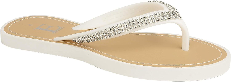 Ladies White Pink Eva Toe Post Jelly Flip Flop Sparkly Diamante Sandals New Summer Flat Beach Sparkle Flip Flops Footwear