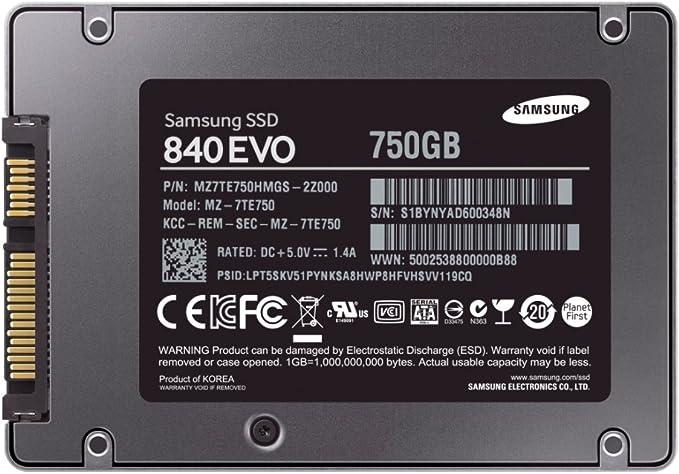 Samsung 840 EVO - Disco Duro sólido Interno SSD de 750 GB: Amazon ...