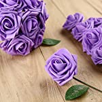 Febou-Artificial-Flowers-50pcs-Real-Touch-Artificial-Foam-Roses-Decoration-DIY-for-Wedding-Bridesmaid-Bridal-Bouquets-Centerpieces-Party-Decoration-Home-Display-Office-Decor-Standard-TypePurple