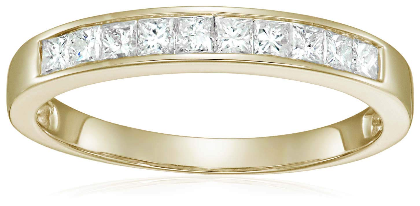 1/2 cttw Princess Cut Channel Diamond Wedding Band 14K Yellow Gold Size 7.5 by Vir Jewels