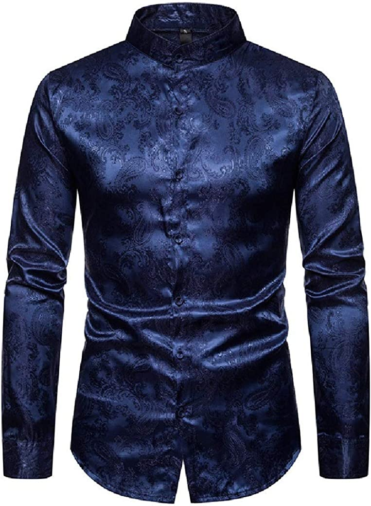 Tralounry Men Stand Collar Nightclub Silm Fit Long Sleeve Dark Bands Longshirt