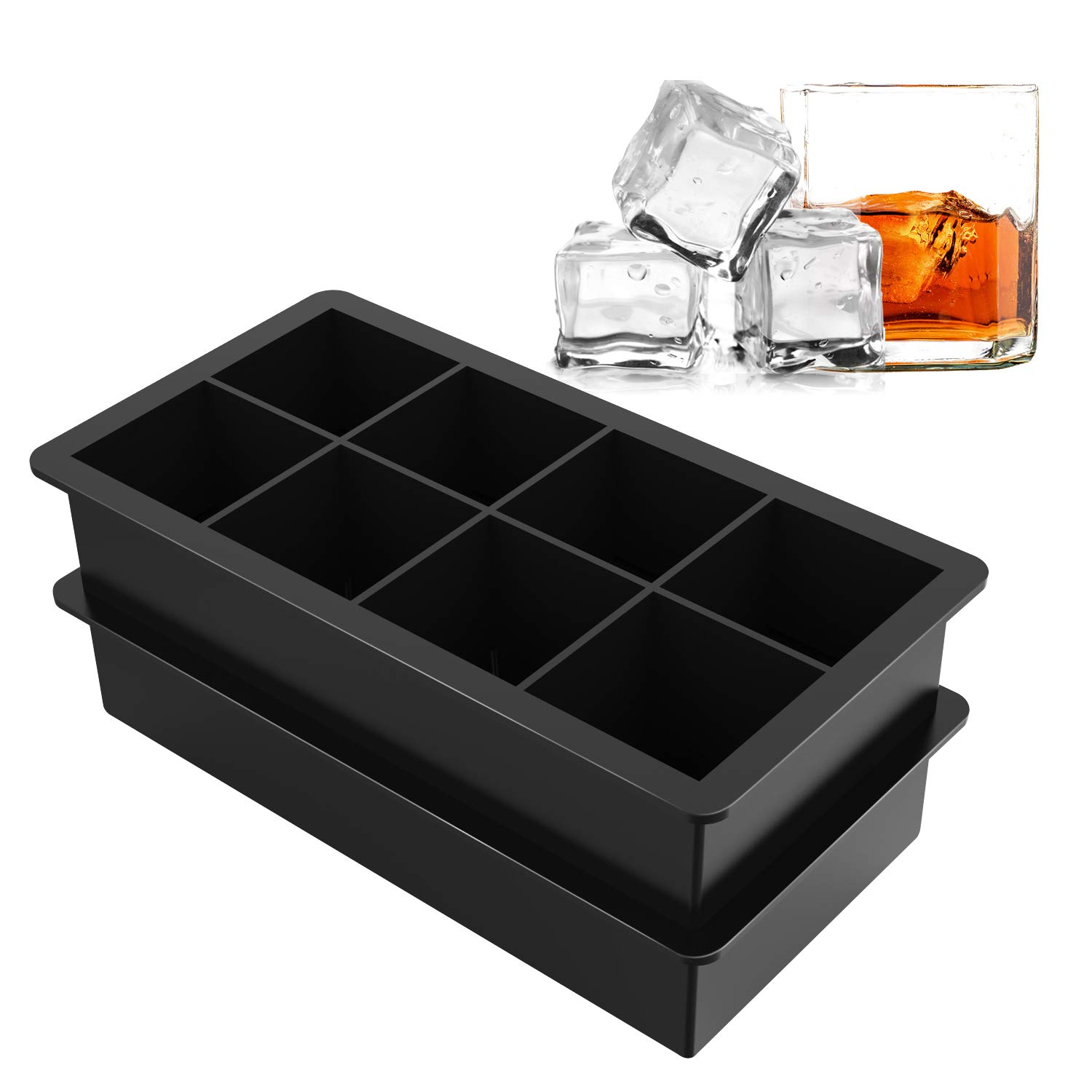 Ice Cube Trays Silicone Large Square Ice Cube Molds for Whiskey and Cocktails, Keep Drinks Chilled, Reusable and BPA Free (2pc/Pack)