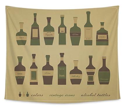 Gear nueva pared tapiz para colgar Art Decor dormitorio College dormitorio bohemio, botellas de alcohol