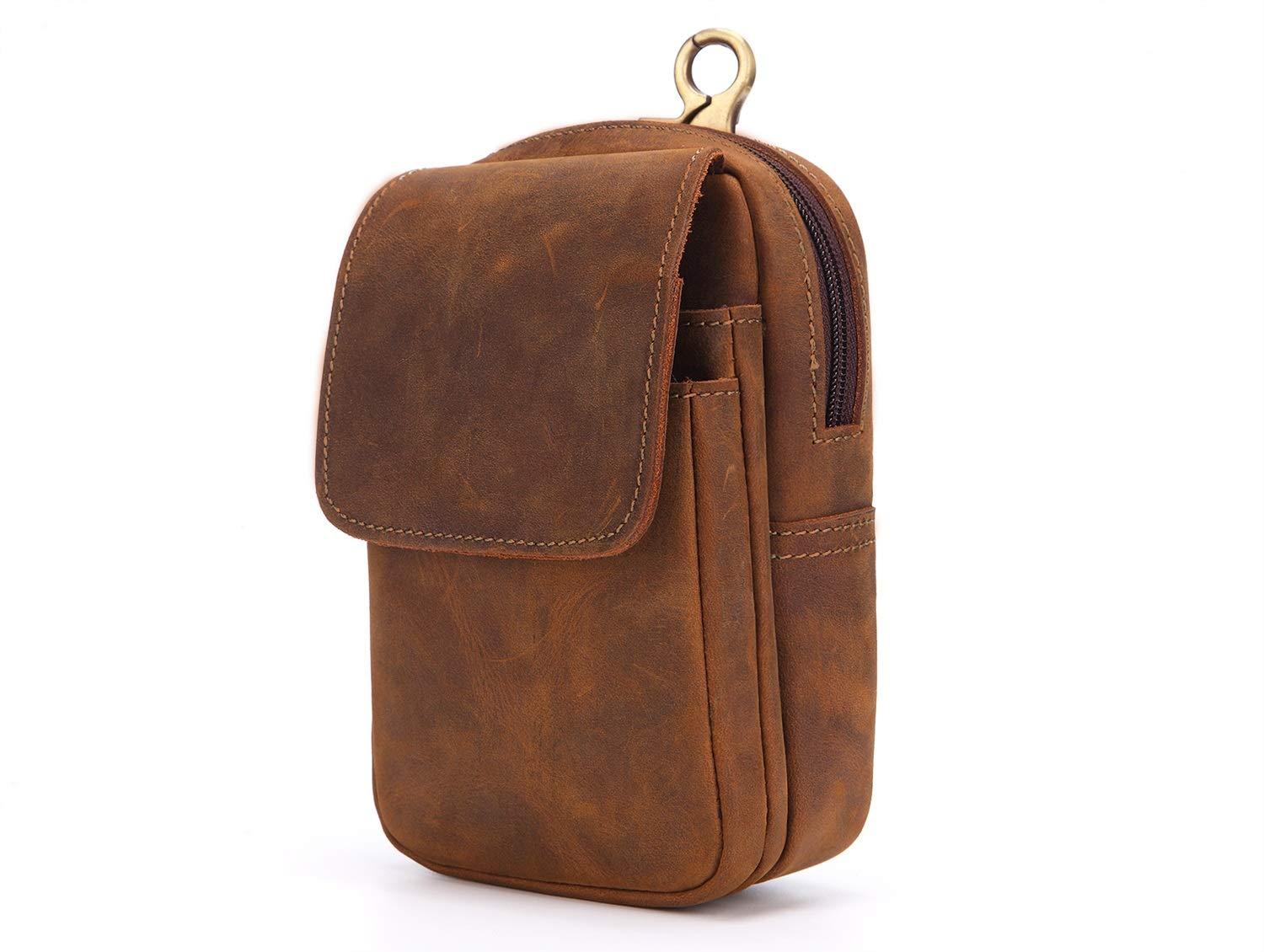 DAYIYANG Special Design 2018 New Mens Leather Purse Mad Horse Leather Phone Bag Retro Outdoor Small Bag Wearing A Belt Color : Brown, Size : S