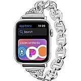 LS Apple Watch バンド , ステンレス ダイヤモンド付き アップルウォッチ 交換ベルト Apple Watch Series 5 /4 /3 / 2 対応バンド ,ラインストーン付け アップルウォッチ スマート ウォッチ 交換バンド(42mm/44mm,バンド(シルバー)