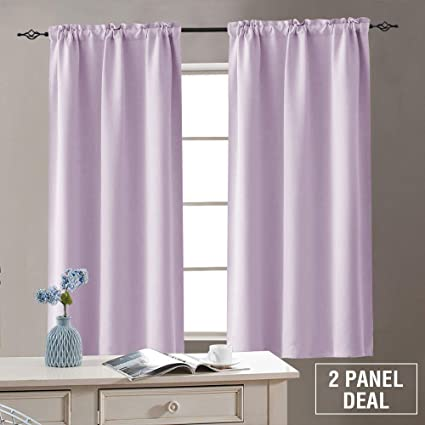Lilac Curtains Room Darkening Bedroom 63 inches Long Moderate Blackout  Window Curtain Panels Living Room Drapes Triple Weave Rod Pocket Window ...