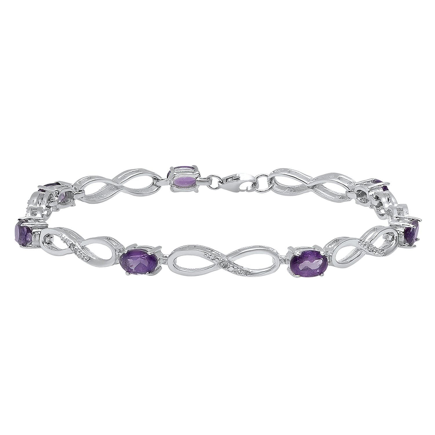 Dazzlingrock Collection 6X4 MM Each Oval Amethyst & Diamond Accents Ladies Infinity Tennis Bracelet, Sterling Silver by Dazzlingrock Collection
