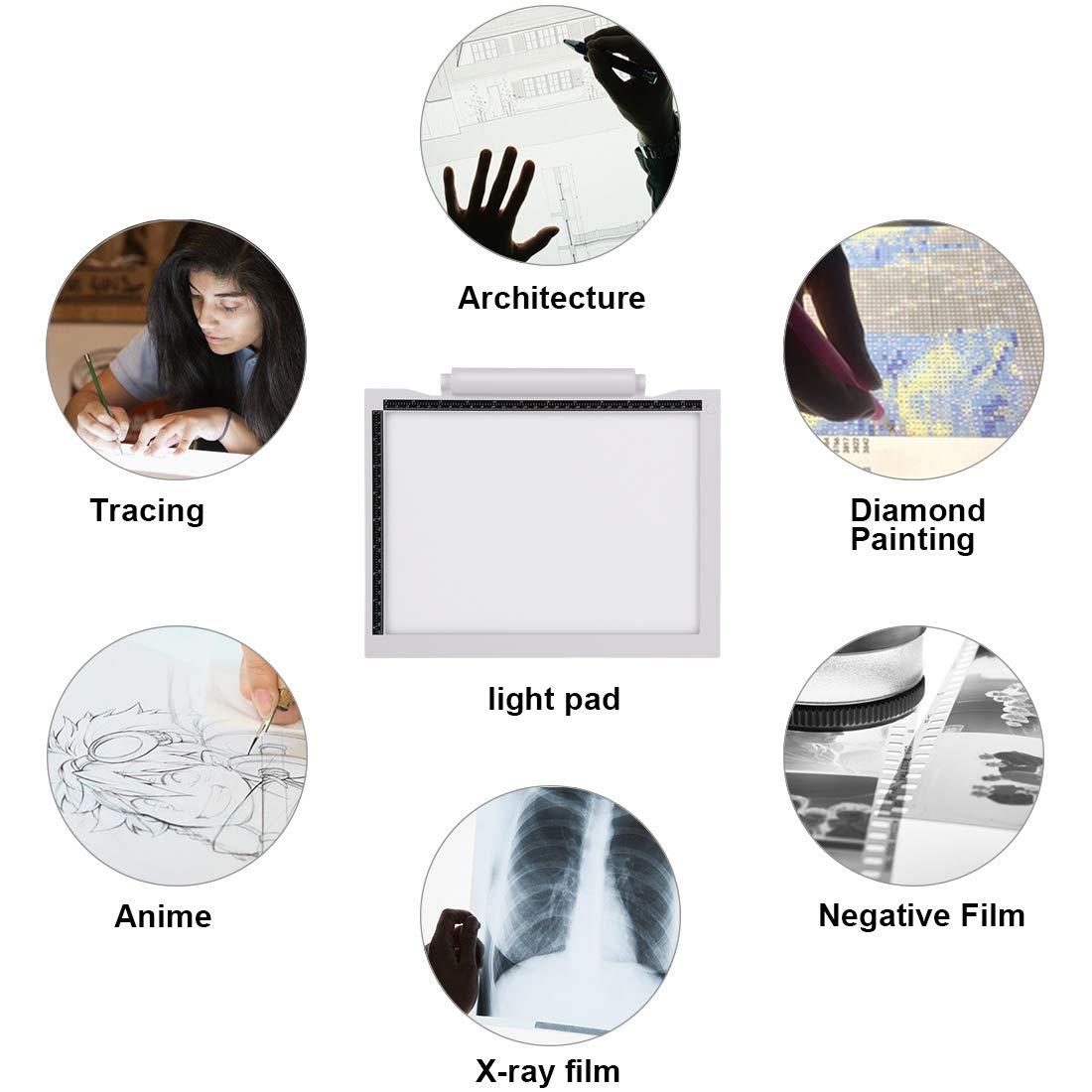 Aktualisierung Batteriebetrieben Leuchtplatte LED Zeichnung Pad Mit 3-stufiger Helligkeit und USB Kable Ideal f/¨/¹r Designen Kopieren Zeichnen Skizzieren Keine Batterie Genround A4 LED Leuchttisch