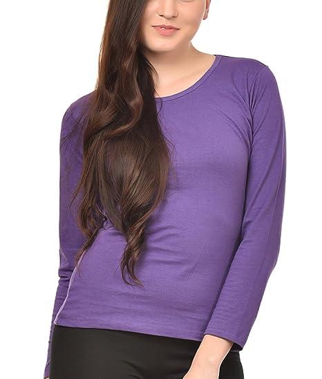 d5c51fd6225 NEEVOV Women s Round Neck Cotton Purple T-Shirt Full Sleeve-XS ...