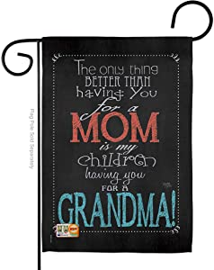 Breeze Decor Mom Grandma Garden Flag - Family Mother's Day Mama Love Flowers Parent Sibling Relatives Grandparent - House Decoration Banner Small Yard Gift Double-Sided Made in USA 13 X 18.5