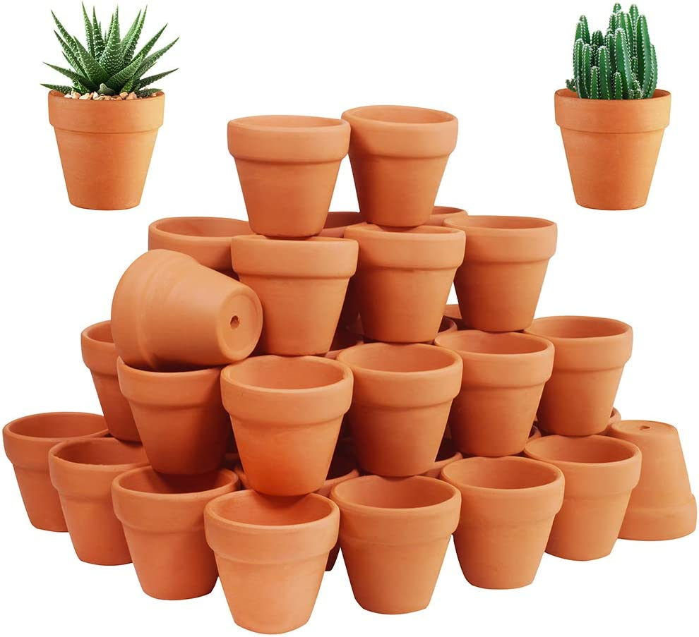 72 Pcs Small Mini Clay Pots - 2'' Terracotta Pot Ceramic Pottery Planter Terra Cotta Flower Pot Succulent Nursery Pots Great for Windowsill, Cactus Plant, Crafts, Wedding Favors Baby Shower