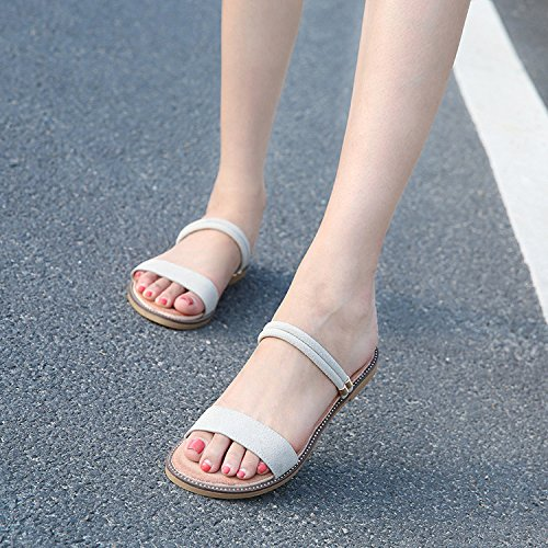 Sandals Flat Toe Open Womens Summer Flop Shoes Ladies Beach Flip Slippers Strap Beige HGDR Ankle Sandals w6xCRtPwq