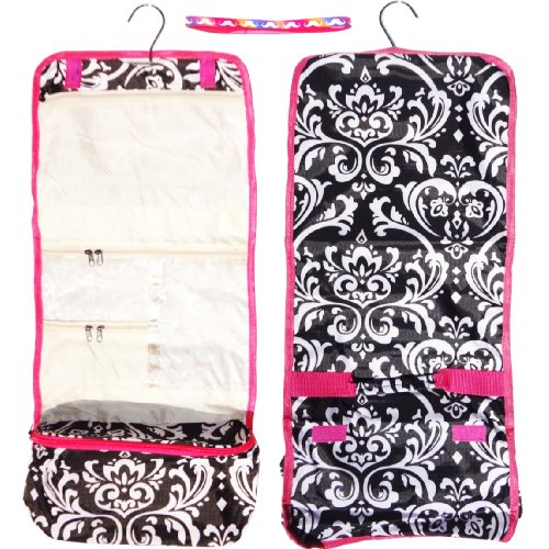 Large Damask Trim Hanging Toiletries Cosmetic Makeup Travel Bag Case Shower Caddy Junior Teen TravelNut® Unique Cool Birthday Valentines Day Gift Idea Girl Women Wife Girl