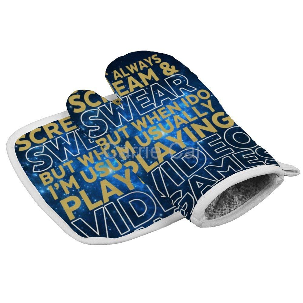 Funny Gamer and Gaming Geek Oven Gloves Microwave Gloves Barbecue Gloves Kitchen Cooking Bake Heat Resistant Gloves Combination
