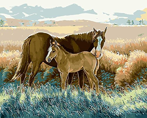 JynXos Wooden Framed Paint By Number Horses Linen Canvas DIY Painting - Mother And Son Horse