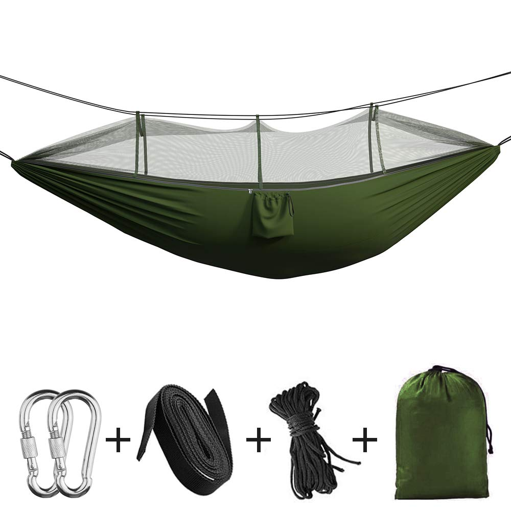 Portable Camping Hammock – Double Single Indoor Outdoor Tree Hammock with Bug Insect Net, 2 Hanging Straps, Lightweight Nylon Parachute Hammocks for Backpacking, Travel, Beach, Backyard