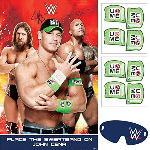 John Cena Party (amscan Grand Slammin' WWE Birthday Party Game Activity (4 Pack), Assorted Size,)