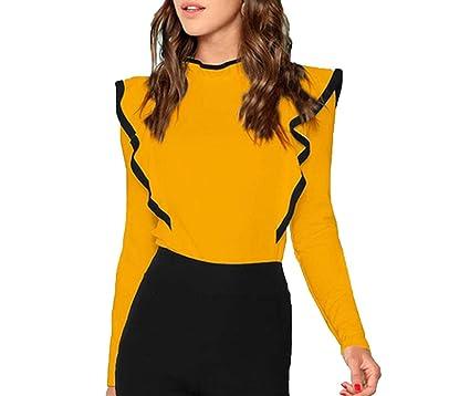 c4f70c12ea25 WC-hot Ruffle Trim Tee Button Stand Collar Long Sleeve Workwear Women Plain  T-
