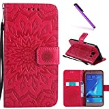 Samsung Galaxy J510 Case,J5 2016 Case,LEECOCO Fancy Embossed Floral Pattern Wallet Case with Card/Cash Slots [Kickstand] PU Leather Flip Case Cover for Samsung Galaxy J5 2016 Mandala Red