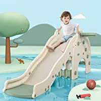 Kids Slide with Basketball Hoop Plastic Toddler Climber Play Slide Wave Slideway Max Load 330lb Non-Slip 3 Steps…