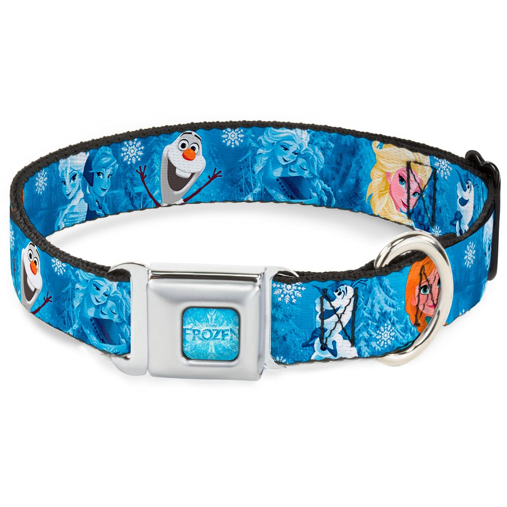 Buckle-Down Seatbelt Buckle Dog Collar Frozen Character Poses bluees 1  Wide Fits 11-17  Neck Medium