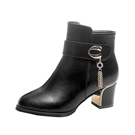 XINANTIME - Botines de cuero con tacón cuadrado Zapatos de plataforma Martin High Heels Botas de
