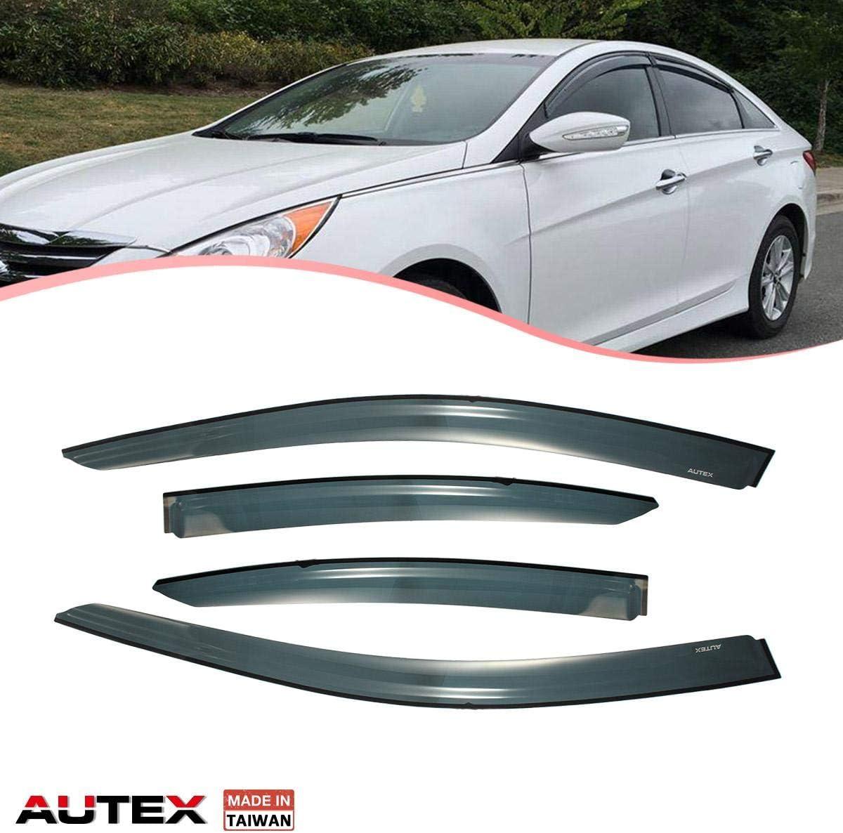 Amazon Com Autex Tape On Window Visor Compatible With Hyundai Sonata 2015 2016 2017 2018 Side Window Wind Deflector Sun Rain Guard Automotive