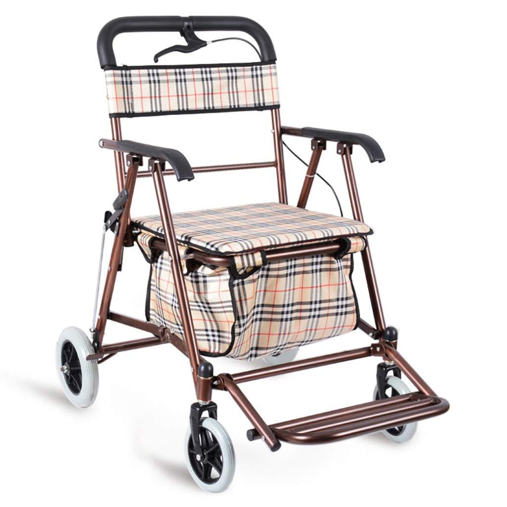 高齢者用折り畳み式ショッピングカート、四輪歩行者は老人用トロリーを押すか座ることができる (色 : ブロンズ) B07P9WJZ1D ブロンズ