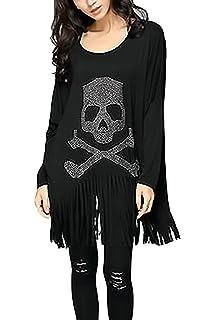 Camisetas Manga Larga Mujer Spring Otoño Básicos Blusas Elegante Moda Hippie Calavera Impresa Loose Casual Camisetas