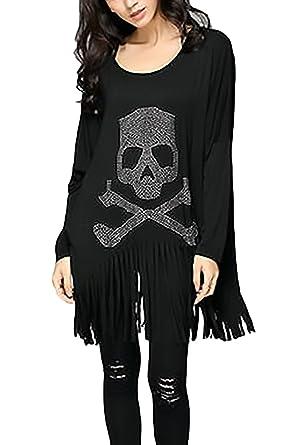 Camisetas Manga Larga Mujer Spring Otoño Básicos Blusas Elegante Moda Hippie Calavera Impresa Loose Casual Camisetas Con Flecos Talla Única Negro Camisas ...
