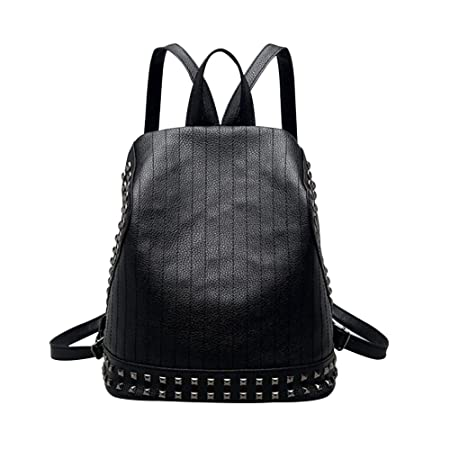 52c1059675 Cool Rivet Faux Leather Backpack School Travel Women Shoulder Bag Tote  Satchel  Amazon.co.uk  Kitchen   Home
