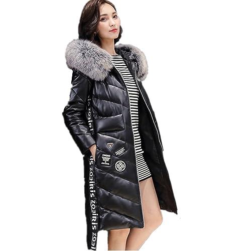 BOMOVO Abrigo de plumas de manga larga para mujer Cuero de la PU abajo mujer chaqueta