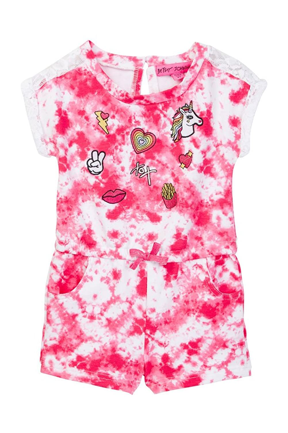 Betsey Johnson Tie Dye Embroidered Patch Romper (Little Girls) 6