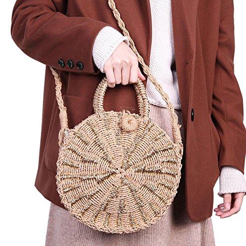 Prosperveil Shoulder Messenger Women Woven Summer Bags Gold Handbag Straw Round Rattan Beach 6qxB1r6