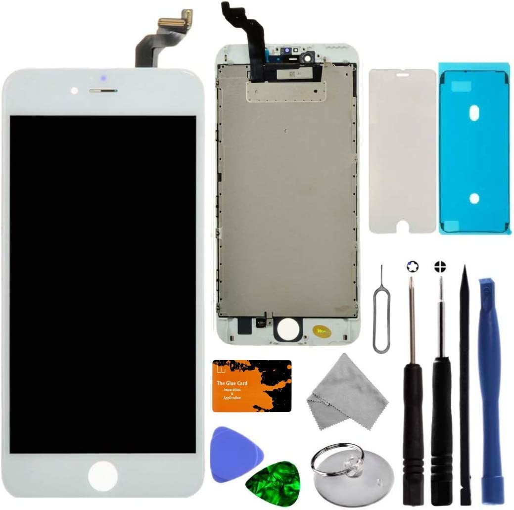 iPhone 6S Plus, White, All Carriers Replacement Screen Compatible with iPhone 6S Plus 5.5 inch Full LCD Digitizer Frame Assembly Touch Display with a Complementary Repair Tool Kit